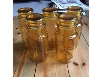 vintage yellow glass food jars x5