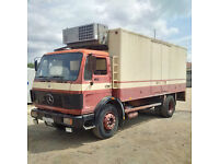 Left hand drive Mercedes Benz 1617 17 Ton fridge freezer box lorry. On 10 studs.