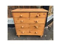 Antique Pine 5 Draw Chest of Drawers