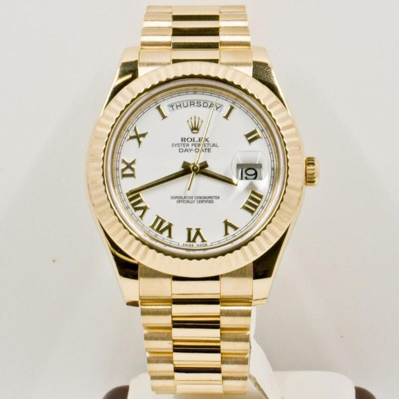 Rolex 41mm Day Date Ii 218238 18k Yellow Gold President Box & Papers 2014 Model