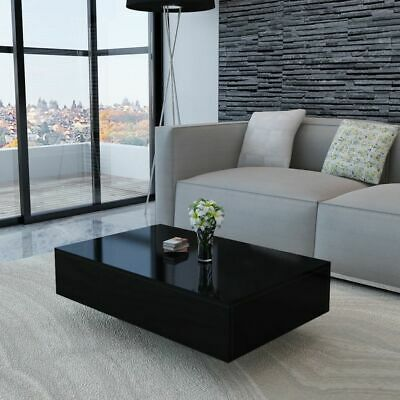 vidaXL Coffee Table MDF High Gloss Black 33.5