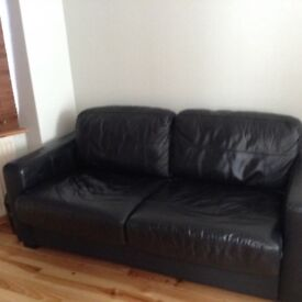 Black leather bed settee for sale