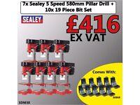 SEALEY SDM30 PILLAR DRILL 5 SPEED 580MM 350W/230V + 19PC HSS DRILL BIT SET WHOLESALE DEAL