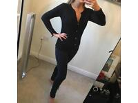 Zara gold button detail black cardigan. Size S.