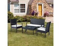 Outdoor Rattan Garden Furniture Patio Conservatory Wicker Set - Tan Cushion