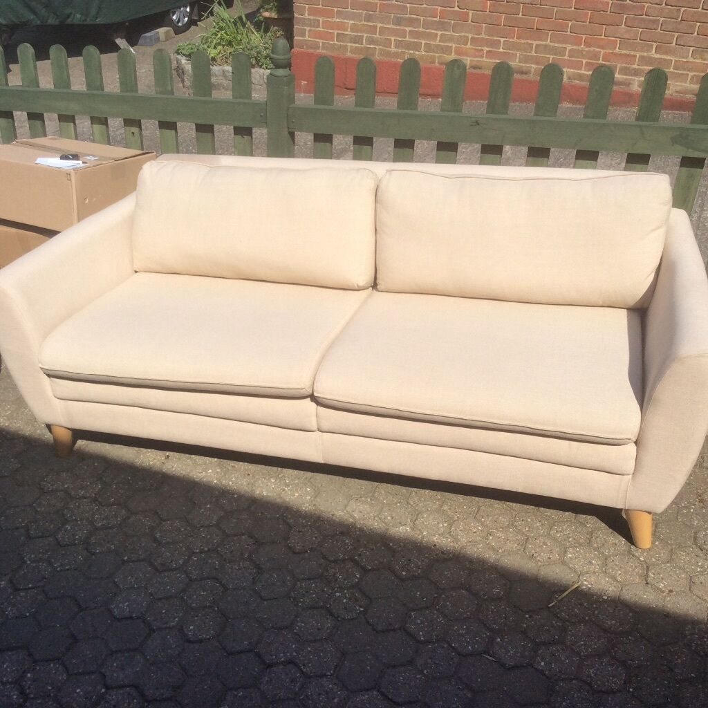 large beige sofa sfs in dover kent gumtree. Black Bedroom Furniture Sets. Home Design Ideas
