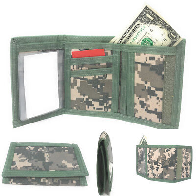 (TriFold Mens Wallet Digital ACU Gray Camo Camouflage Army Military Hook Loop)