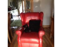 Italian red leather recliner chair