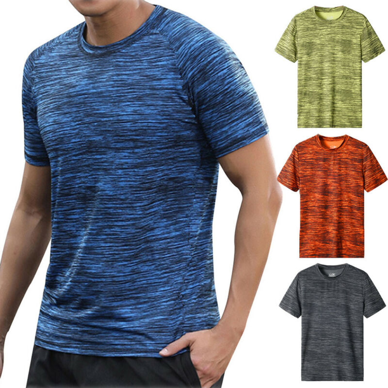 Men Summer Casual Short Sleeve T Shirt Fit Sport Fast-Dry Br
