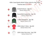 NEW - 4500 of GOOD QUALITY ADULTS CLOTHES- SWEATS - POLOS - TEES - KNITWEAR -PERFECT FOR EBAY/AMAZON