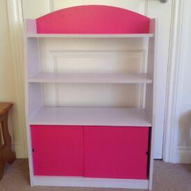 White & Pink Wooden Storage Unit / Bookcase