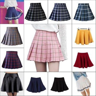 Women High Waist Pleated Skirt School Girl Plaid A-Line Flare Skater Short - Plaid School Girl Skirt