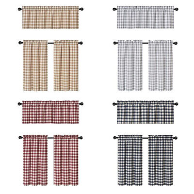 Country Plaid Gingham 3 Pc Kitchen Curtain Tier & Valance Set - Assorted Colors