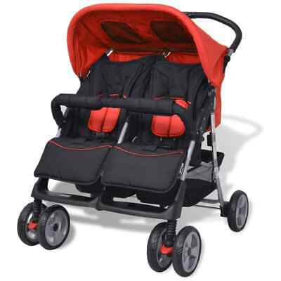 vidaXL Tweelingwagen Staal Rood en Zwart Kinderwagen Rode Zwarte Wandelwagen