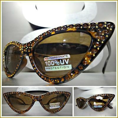 Classy Retro Cat Eye Style SUNGLASSES Tortoise Frame Sparkling Bling (Bling Cat Eye Sunglasses)