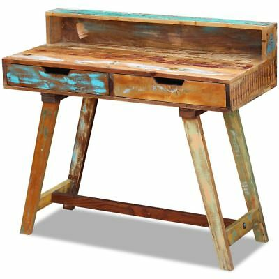 Vidaxl Solid Reclaimed Wood Computer Office Corner Desk Workstation 2 Drawers