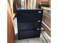 Dark blue roneo three drawer side filer