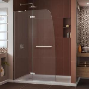 NEW DreamLine Aqua Ultra Frameless Shower Door and SlimLine 36-Inch by 48-Inch Shower Base, DL-6524C-04CL