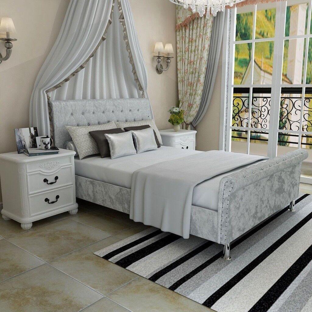 Crushed Velvet Fabric Upholstered Chesterfield Sleigh bed ...