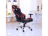 BRAND NEW RECLINING SPORTS RACING GAMING OFFICE COMPUTER CHAIR BLACK & RED