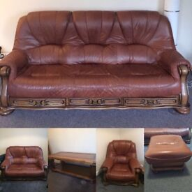 LEATHER 3 seater, 2 seater, armchair, foot stool & coffee table