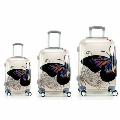 dcda4bbc7 Juego de 3 maletas rigidas lisas de 4 ruedas giratoria 360 maleta MARIPOSAS