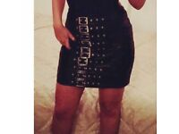 Miss guided black leather skirt