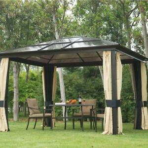 10 x 10 ft Deluxe Hard Top Waterproof Gazebo Canopy Heavy Duty Shelter with Curtains and Mosquito Netting