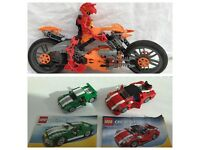 Lego bundle of 2 creator cars and lego bionicles motorcycle