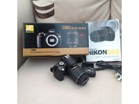 NIKON D60 with18-55 VR lens boxed