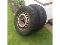 2x VW transporter wheels with tyres. Good tread left. £15