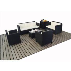 Black Rattan Sofa and Table set