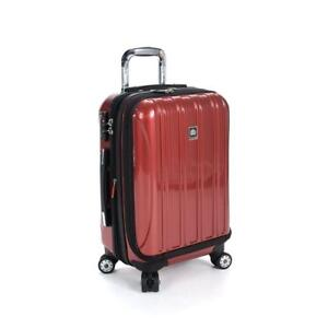 NEW Delsey Luggage Helium Aero International Carry On Expandable Spinner Trolley, Brick Red