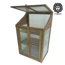 Small Grey Wooden Greenhouse - Polycarbonate Glazing ☀️New & Free Delivery☀️