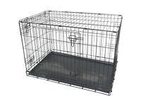 "Black Metal Folding 36"" Pet Crate Dog Crate Cage Transport"