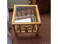 2 Cane Coffee Tables with glass tops, ideal for conservatory, good condition. £10 each.