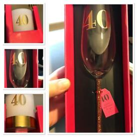 Women's 40th birthday gifts candle and wine glass new.