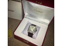 Cartier santos 100 black strap diamond bezel rolex