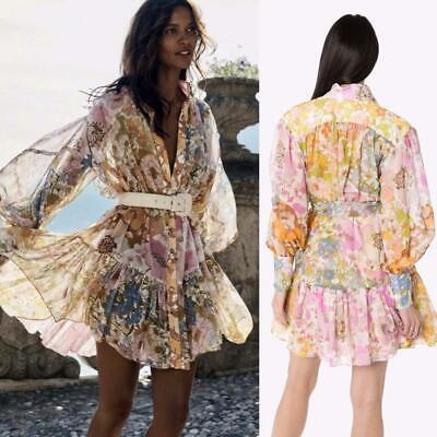 AUTH $850 ZIMMERMANN SUPER EIGHT LANTERN floral print MINI Dress AU1