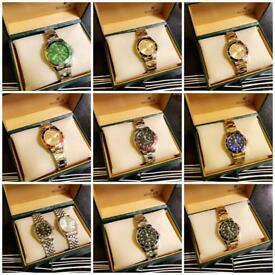 Rolex wristwatch watch men's women's fashion style designer gift present gold silver free loc del