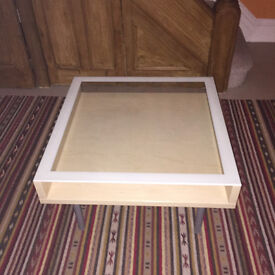 Square glass top coffee table for sale