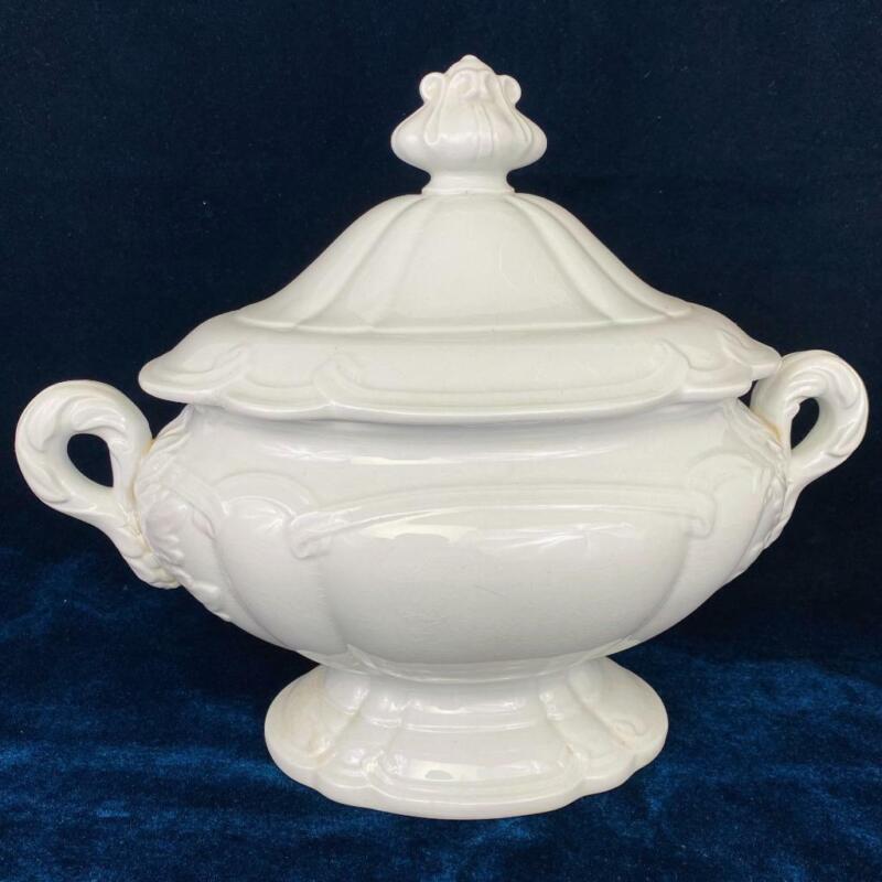 Big Antique English Alcock Blanc de Chine White Ironstone Ornate Ceramic Tureen