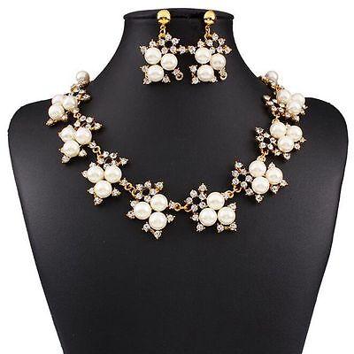Women's Crystal Pearl Jewelry Set Chunky Choker Bib Statement Necklace Earrings