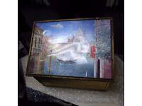 Vintage brass ornate fireguard and box