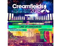 2 x Creamfields GOLD 3 day camping tickets