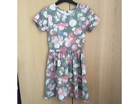 Faded look floral skater dress
