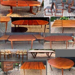 REFINISHED Danish Mid Century Modern Teak Walnut Dining Coffee Tables & Desks from $449, lots of chairs to match with