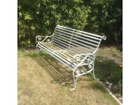Metal garden bench & two chairs