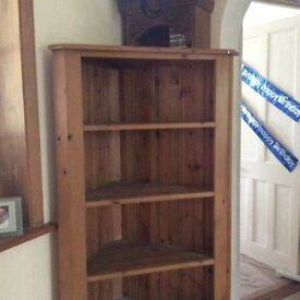 Lovely tall solid pine corner shelving, bookcase unit