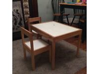 Ikea children's table and 2x chairs